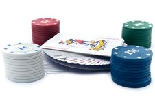 Free Chips Of Poker And Playing Cards Stock Photography - 13842872