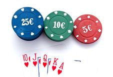 Free Chips Of Poker And Playing Cards Stock Images - 13842874