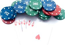 Free Chips Of Poker And Playing Cards Royalty Free Stock Images - 13843059