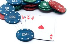 Free Chips Of Poker And Playing Cards Stock Image - 13843071