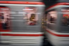 Blurred Subway Cars Rushing Through Tunnel Royalty Free Stock Photos