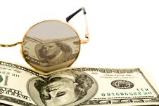 Free 100$ Banknoty And Glasses Royalty Free Stock Photo - 13843215