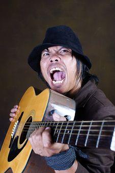Crazy Guitar Man Musician Stock Photography