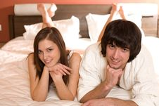 Free Boy And Girl With Long Hair On Bed Stock Photography - 13843492