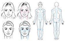 Facial And Body Massaging Lines For Man And Woman Stock Image