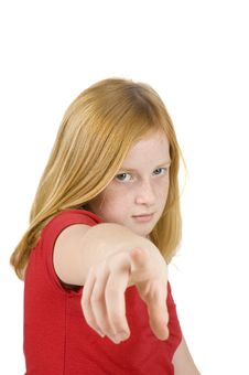 Sad Looking Redhead Girl Is Pointing At You Stock Image