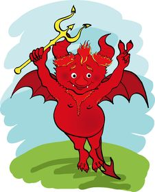Free Devil With A Trident. Stock Images - 13845814