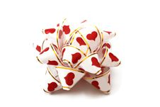 Free White Ribbon With Red Hearts Royalty Free Stock Photos - 13845818
