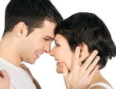 Profile Of Smiling Young Couple In Love Royalty Free Stock Image