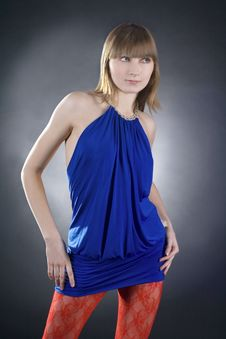 Stunning Woman In Blue Dress On Black Background Stock Images