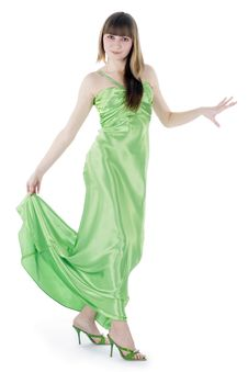 Bright Picture Of Lovely Woman In Green Dress Stock Images