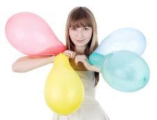 Bright Picture Of Happy Blonde With Color Balloons Royalty Free Stock Photos