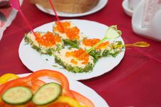 Free Sandwiches With Red Roe Royalty Free Stock Photography - 13846397
