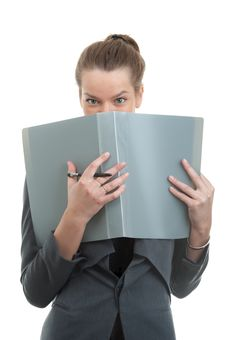 Free Portrait Of A Young Businesswoman Holding A Folder Royalty Free Stock Photography - 13846917