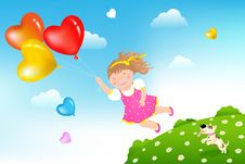 Free Flying Girl. Vector Stock Photography - 13847192