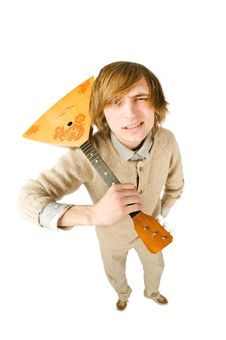 Free Funny Man With Balalaika Royalty Free Stock Photography - 13847437