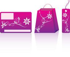Pink Shopping Set Stock Photo
