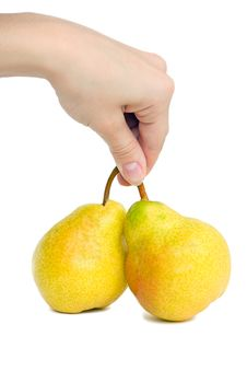 Free Hand And Two Pear Royalty Free Stock Images - 13847989