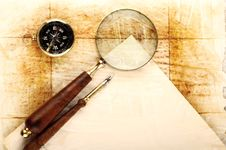 Free Compass And Magnifier Stock Image - 13848341