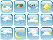 Free Glossy Weather Symbols Royalty Free Stock Photos - 13849268