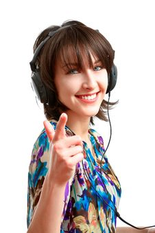 Free Happy Girl With Headphones Royalty Free Stock Photography - 13849367