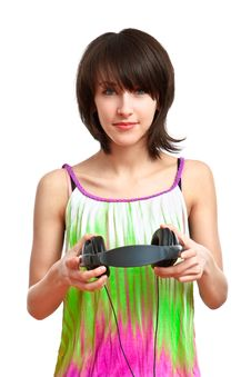 Free DJ Girl With Headphones Royalty Free Stock Photography - 13849387