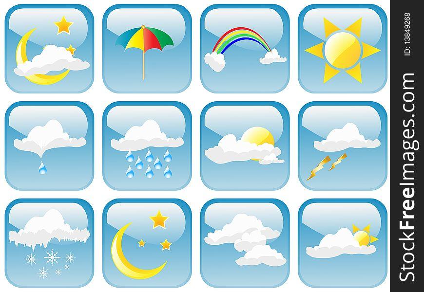 Glossy Weather Symbols Free Stock Images Photos 13849268