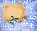 Free Card For Design With Sheets And Bow Royalty Free Stock Images - 13856309