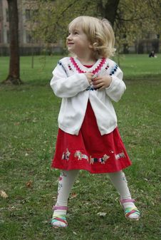 Free A Little Girl For A Walk In The Park Stock Photo - 13850370