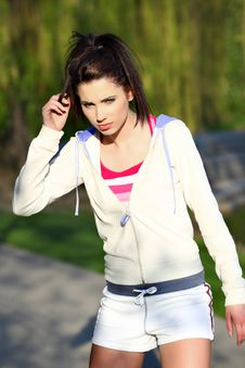 Free Fitness Woman In Park Stock Image - 13850371