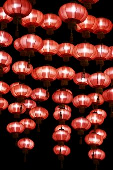 Free Chinese Red Lanterns At Night Stock Photos - 13850703