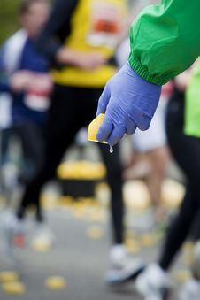 Free Bringing Refreshment To Marathon Runners Stock Photography - 13851442