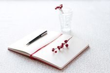 Free Letter With Pen And Berries Stock Photos - 13852503