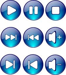 Buttons Glossy Player Blue Stock Photography