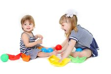 Free Two Cute Young Sisters Playing Stock Images - 13853684
