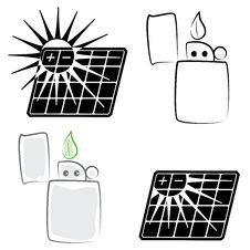 Free Solar Panel And Lighter Symbols Set Stock Photography - 13854612