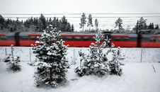 Free Red Winter Train Royalty Free Stock Image - 13854756