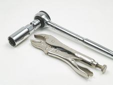 Ratchet, Spark Plug Socket And Locking Pliers Stock Photography