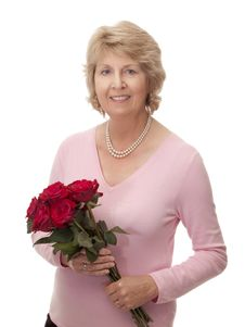 Free Senior Woman With Bouquet Of Red Roses Stock Image - 13854811