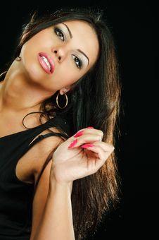 Free Brunette On Black Royalty Free Stock Photos - 13856698