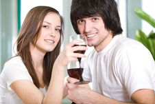 Free Beautiful Girl And Boy With Wineglasses Royalty Free Stock Images - 13857099