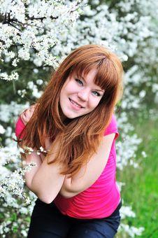 Redheaded Girl In Blossom Garden Stock Images