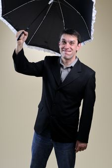 Free Funny Business Man Challenging With Umbrella Stock Images - 13857554