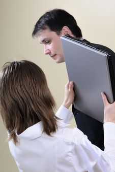 Free White Woman Hitting Man With Office Equipment Stock Photo - 13857660