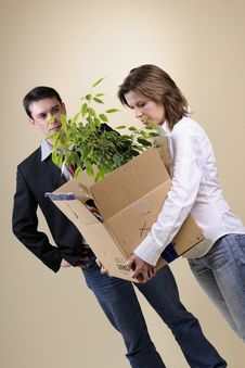 Free Upset Woman Leaving Office With Box Stock Photography - 13858062