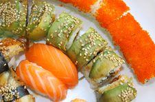 Japanese Sushi Set On A White Plate Royalty Free Stock Image