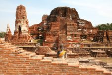 Ruins The Temple Of Wat Mahatat In Ayutthaya Stock Photography
