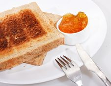 Free Toasted Wholewheat Bread And Sweet Orange Jam Stock Image - 13859561