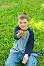 Free Cute Little Boy Showing Off His Frog Royalty Free Stock Image - 13864286