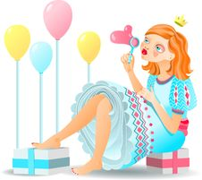 Free Red-hair Girl With Gifts Royalty Free Stock Photos - 13860358